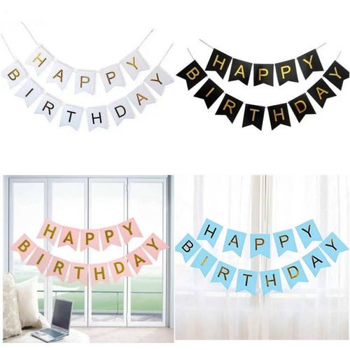 Foto Produk Banner Flag Happy Birthday / Ulang Tahun Tulisan Gold - Biru dari Chowping Store