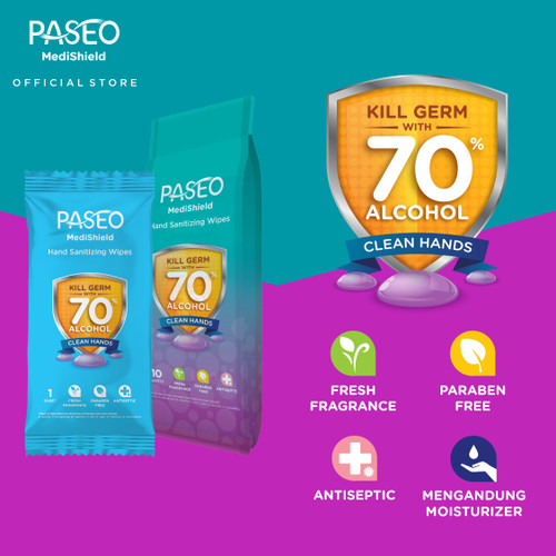 Foto Produk PASEO MediShield Hand Sanitizing Wipes 10 Sachets dari Paseo Tissue Official