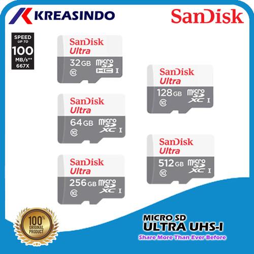 Foto Produk Sandisk Ultra Microsd 100mb/s 32gb 64gb 128gb 256gb 512gb Resmi - 64 gb dari Kreasindo Online