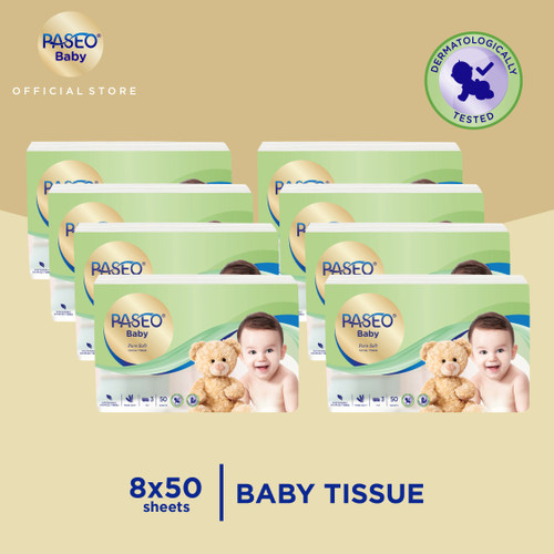 Foto Produk Paseo Baby Tissue Bayi Travel Pack 50 Sheets x 8 Pack dari Paseo Tissue Official