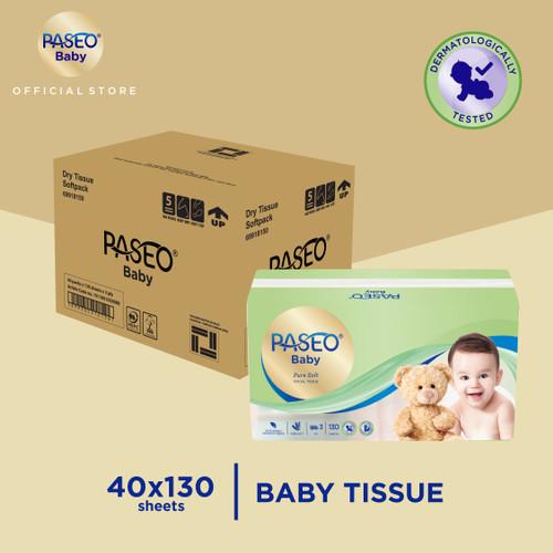 Foto Produk Karton - Paseo Baby Tissue Bayi Soft Pack 130 Sheets x 40 pcs dari Paseo Tissue Official
