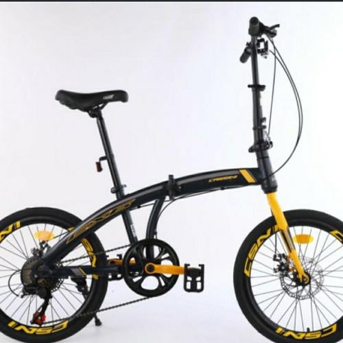 Foto Produk Sepeda lipat Trex cassini 20 inch cakram 7 speed murah - Merah dari bike4ever