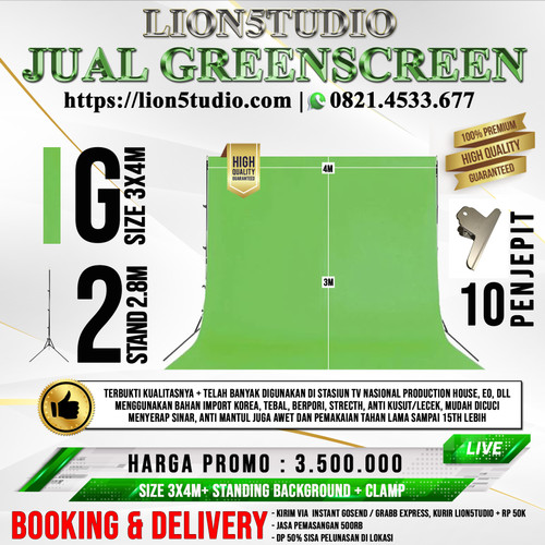 Foto Produk Paket Greenscreen Portable 3x4m + Standing Background p-4m x t-2.8m dari Lion Studio