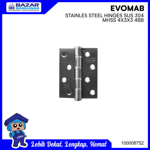 Foto Produk ENGSEL PINTU HINGE STAINLESS STEEL EVOMAB MHSS 4X3X3 4BB NRP SS dari Bazar Bangunan