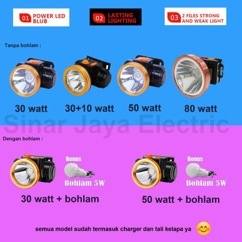 Foto Produk Headlamp head lamp lampu senter kepala super sepeda 30w 30+10w 50w 80w - 50 watt, Kuning dari Sinar Jaya Electric