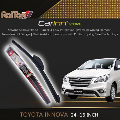 "Foto Produk Raiton Sepasang Wiper Frameless Kaca Depan Toyota Innova 24"" & 16"" dari Carinn Store"