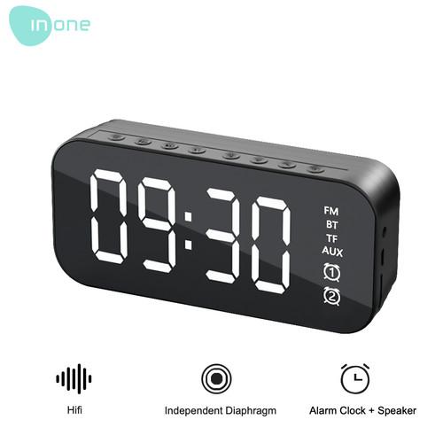 Foto Produk Inone Mirror Digital Speaker Alarm FM Wireless BT5 0 Adjustable - Hitam dari Inone Official Shop