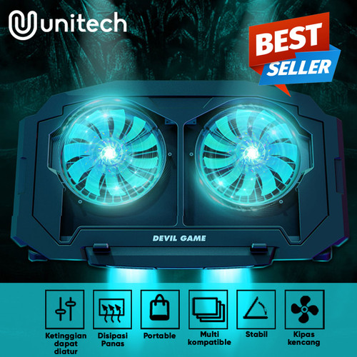 Foto Produk Unitech Notebook Cooler Gaming Coolingpad Pendingin Laptop 2 Kipas 020 dari Unitech Official