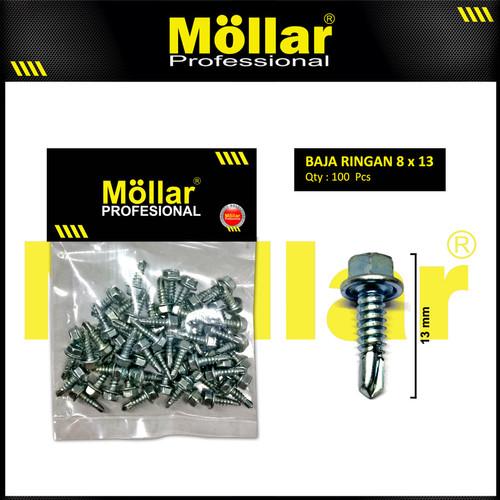 Foto Produk MOLLAR 93-001 Skrup Roofing 8 x 1/2 Baut Sekrup Baja Ringan - 100 pcs dari Mollar Official