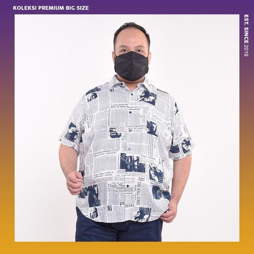 Foto Produk Kemeja Pria Printed White Jumbo Big Size Cowok Ukuran Besar XXL XXXL - 4XL dari BIG BRO Indonesia