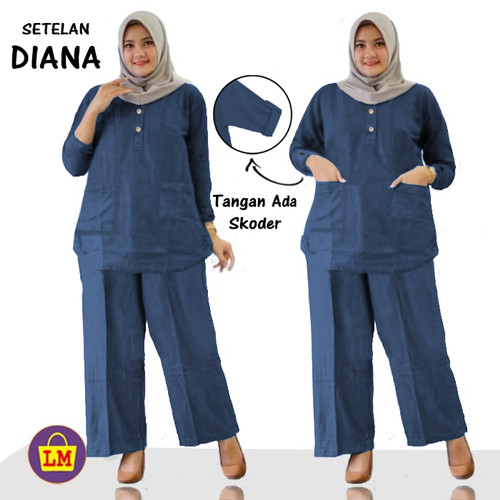 Foto Produk LM 11864 11868 11872 SETELAN DIANA Baju Atasan Bawahan Wanita Muslimah - Navy, XL dari Lobby Mode