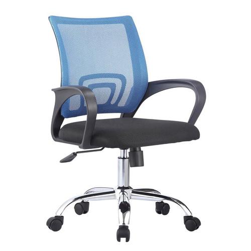 Foto Produk Kursi Kerja Staff Kantor Reddot Model Jaring dan Kaki Stainless - Biru dari RedDot ID