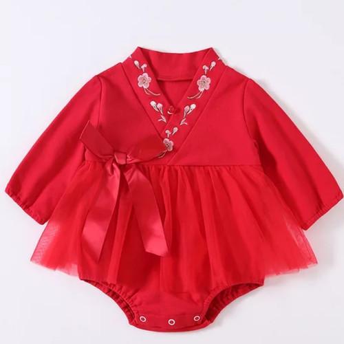 Foto Produk Baby girl romper cheongsam chinese traditional newborn cheongsam - Merah, 100 dari Baby Angeline Shop
