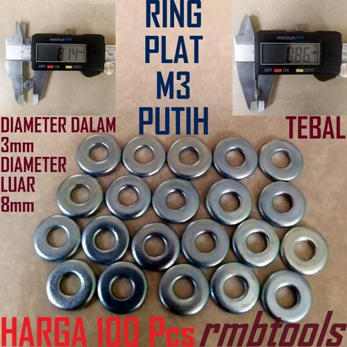 Foto Produk Ring Plat M3 PUTIH / WASHER PLATE (RPWP3) - x100Pcs dari RMBtools Fastener