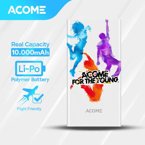 Foto Produk ACOME Powerbank 10000mAh 2 USB Output - Garansi Resmi 18 Bulan - AP103 - Youth White dari Acome Indonesia