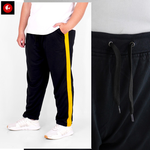 Foto Produk Okechuku VARO BIG SIZE Celana Panjang Jogger Side List Samping JUMBO - Hitam-Kuning dari Okechuku