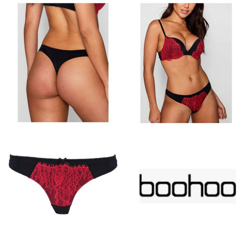 Foto Produk Thong Boohoo color black with red lace dari Underwear branded
