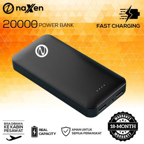 Foto Produk Powerbank 20000mAh Real Capacity 2A Fast Charge Naxen Travelpal - Hitam dari Naxen Official Store