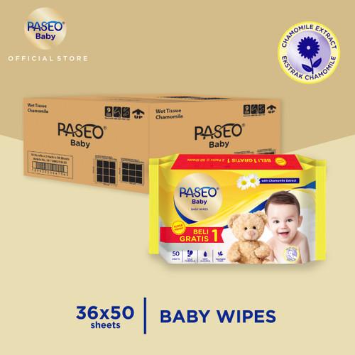 Foto Produk Karton - Paseo Baby Tissue Basah 50 Sheets x 36 pcs (Buy 1 Get 1 FREE) dari Paseo Tissue Official
