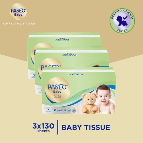 Foto Produk Paseo Baby Tissue Bayi Soft Pack 130 Sheets x 3 Pack dari Paseo Tissue Official