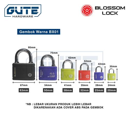 Foto Produk Gembok Warna BX01 Blossom - Uk 20mm 25mm 32mm 38mm 50mm 63mm - 38 MM dari Gute Hardware