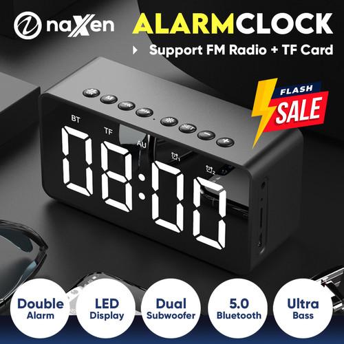 Foto Produk Naxen Speaker Alarm Bluetooth Mini Portable with FM Radio + Mirror - Hitam dari Naxen Official Store
