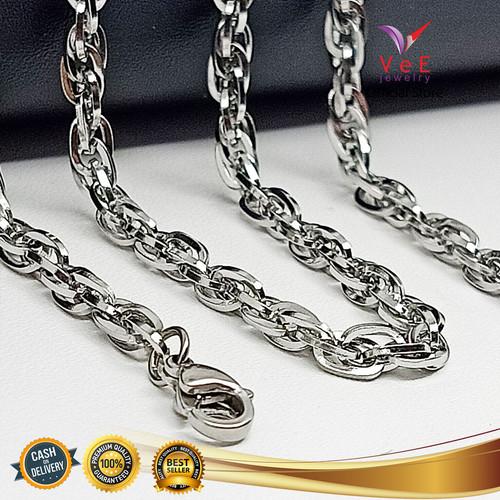 Foto Produk Kalung Titanium Stainless Steel Asli Perak Rantai Ulir 60cm - VeE dari Vee Jewelry