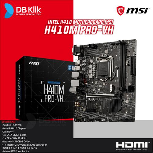 Foto Produk Motherboard MSI H410M PRO-VH - MB MSI H410 M Pro VH dari dbclick
