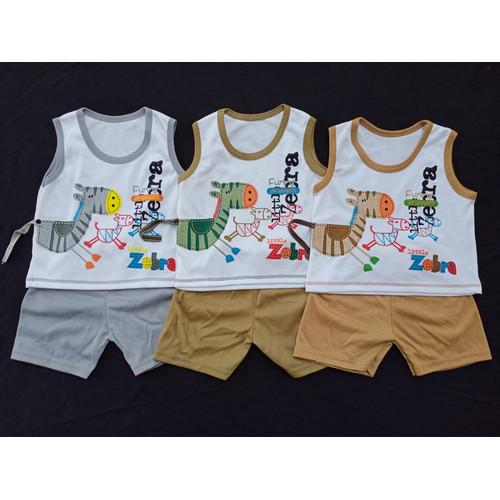 Foto Produk SETELAN SINGLET OBLONG KATUN Bayi Usia 0-12 Bulan motif ZEBRA - COKELAT TUA dari HS90Shop