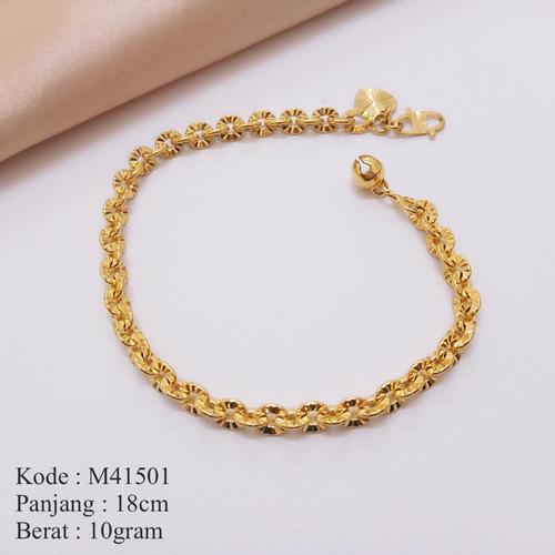 Foto Produk M41501 Gelang Tangan Rantai Nori Ukir 24karat Gold Missi Jewelry dari Missi Fashion Jewelry