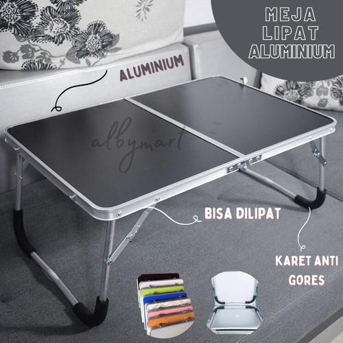 Foto Produk Meja Lantai Lipat Alumunium - Meja Belajar LAPTOP Serbaguna ALUMINIUM - Merah Muda dari cabokimurah