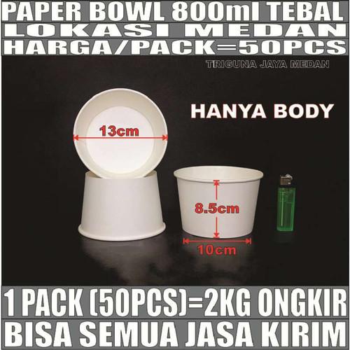 Foto Produk Paper bowl tebal 800ml mangkuk kertas tahan microwave 800 ml Medan dari triguna jaya medan