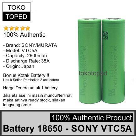 Foto Produk Authentic Battery 18650 Sony VTC5A 2600mAh 35A | original batre vtc 5A dari deKloud