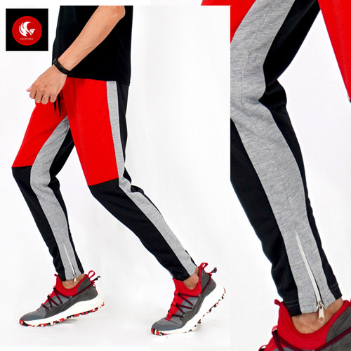 Foto Produk RONALDO Okechuku Celana Jogger Pria Korean Style Variasi Warna - Merah, M fit to L dari Okechuku