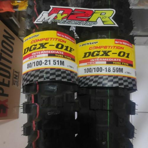 Foto Produk BAN DUNLOP DGX 01 18 21 TYRE MOTOCROSS PAKET DEPAN BELAKANG TRAIL KLX dari D2R MX SPEED SHOP ID