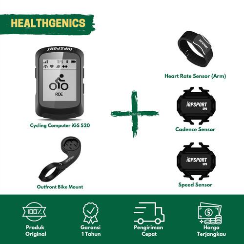 Foto Produk Speedometer Sepeda iGPSPORT IGS520 Cadence+ Speed +HRM (ARM) + Barfly dari Healthgenics