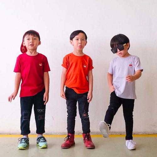 Foto Produk Kaos Polos Katun Combed Anak - Anak Usia 1-9T  B00 by Little Jergio - S 1Y, Steel Blue dari Little Jergio