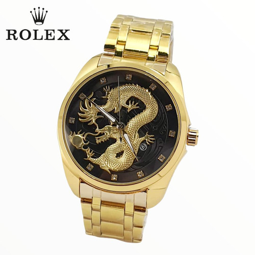 Foto Produk Rolex Jam Tangan Pria Terbaru Motif Naga - Gold - Gold black dari Triple - T