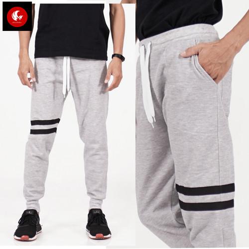 Foto Produk Okechuku KEVIN Celana Panjang Joger Training Pants Pria Bahan Fleece - Abu Muda, M fit to L dari Okechuku