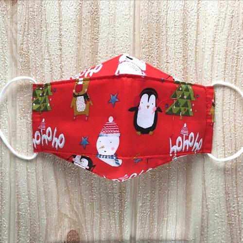 Foto Produk masker edisi Natal. 3d origami 3 ply. bahan katun - c11 merah, masker saja dari chuchu_shop