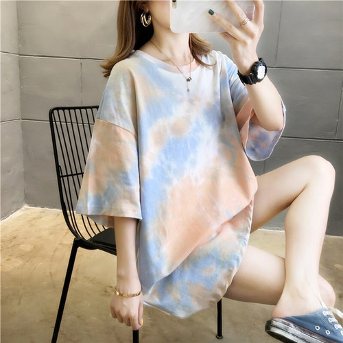 Foto Produk Kaos Panjang T Shirt TYE DYE TIE DYE Abstrak Oversized - Hijau dari Grosir Korean style