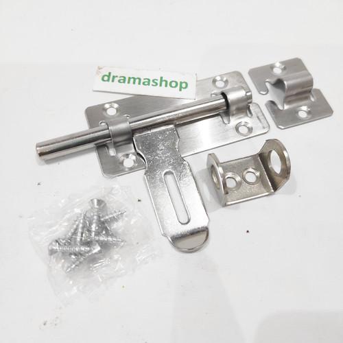 "Foto Produk slot kunci grendel + overpal gembok pintu baja steinless stee 4"" 4inch dari dramashop"