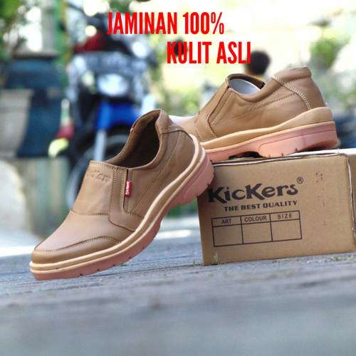 Foto Produk Sepatu Pria Kickers Kulit Asli Coklat Brown Slip On Slop Kerja Santai - Cokelat, 39 dari RINDU_ORDER