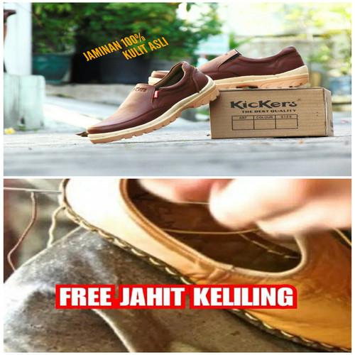 Foto Produk Sepatu Pria Kerja Kickers Slip On Kulit Asli - Coklat Muda -Tanpa Tali - COKLAT BROWN, 39 dari RINDU_ORDER
