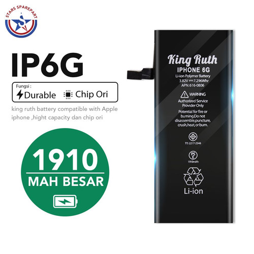 Foto Produk iPhone 6 6G Baterai Battery Batre Double Power 1910mAh King Ruth - KingRuth 6G dari Stars Sparepart