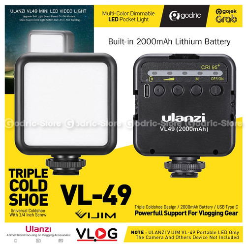 Foto Produk ULANZI VL49 LED Built-In Battery Lampu Studio Video Light HP /2Gen W49 - BLACK dari G-Rex