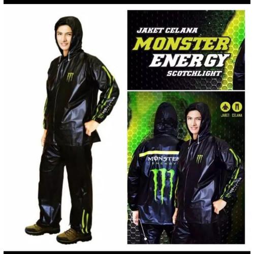 Foto Produk Jas hujan setelan monster energi black hitam/raincoat jaket celana dari botolbotak