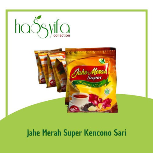 Foto Produk JAHE MERAH SUPER KENCONO SARI PLUS HABATUSSAUDA,GINGSENG,MADU -RENCENG dari Hassyifa collection
