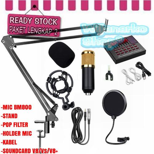 Foto Produk PAKET LENGKAP 2 BM800 + SOUNDCARD V8, REKAMAN / LIVE STREAMING - Gold, V8S dari Wijanarko Shop