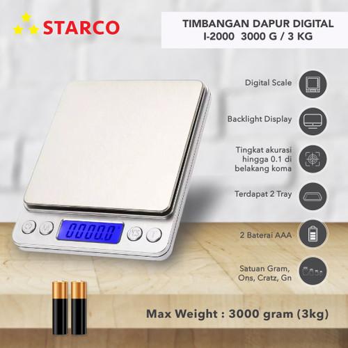 Foto Produk Starco Timbangan Dapur Digital Timbangan Kopi Digital i2000 3000g 3Kg dari Starco Official Store